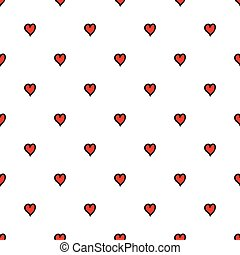Seamless pattern. Red heart texture in doodle style. Vector illustration