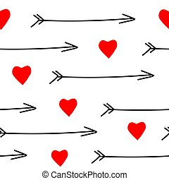 Seamless pattern. Red hearts and black arrows on a white background.