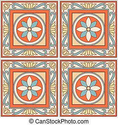 Seamless pattern retro ceramic tile design with floral ornate. Endless texture.