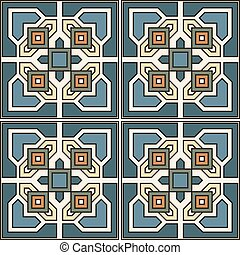 Seamless pattern retro ceramic tile design with floral ornate