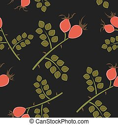 Seamless pattern rosehip, vector