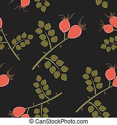 Seamless pattern rosehip