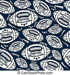 Seamless pattern rugby ball in comic style. White pattern on...