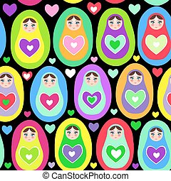 Seamless pattern Russian dolls Matryoshka on white background, bright colors. Birthday, baby shower, party, design. Vector