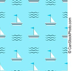 Seamless Pattern Sail Boats