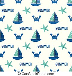 seamless pattern sailing ship fish