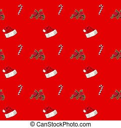 seamless pattern Santa hat and candy cane candy cane on red background