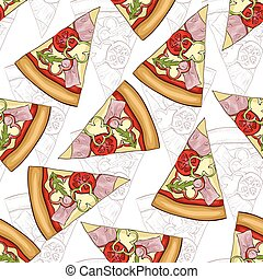 Seamless pattern scetch and color pizza with bacon