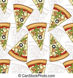 Seamless pattern scetch and color pizza