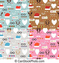 Seamless pattern scrapbooking vector set Santa, reindeer. -...