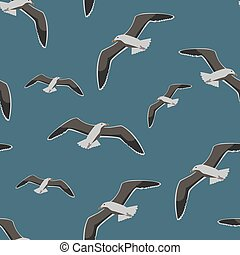 Seamless pattern sea gull