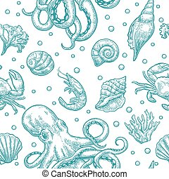 Seamless pattern sea shell, coral, crab, octopus and shrimp. Vector engraving
