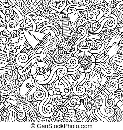 Seamless pattern sealife and marine