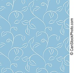 Seamless pattern - Seamless blue leafy pattern on green...