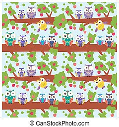 seamless pattern set bright colorful owls on the branch of a tree with red apples on blue background. Vector
