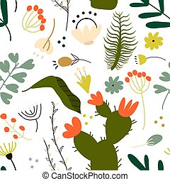 Seamless pattern set of a lot of different green tropical exotic leaves, plants and flowers on white background. Collection of completed and isolated vector illustrations.