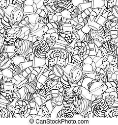 Seamless pattern. Set of confectionery
