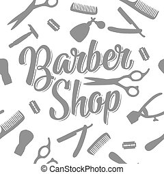 Seamless pattern set tool for BarberShop with comb, razor,...