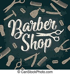 Seamless pattern set tool for BarberShop with lettering -...