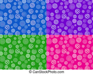 seamless pattern set with abstract white balls