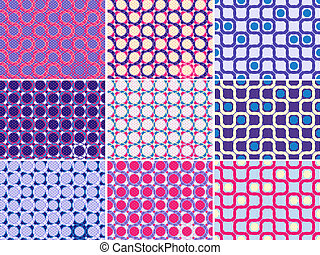 Seamless Pattern Set with Circles and Curves