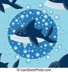 Shark in Scandinavian style surrounded by fish, starfish, seaweed, seashells, hand drawn