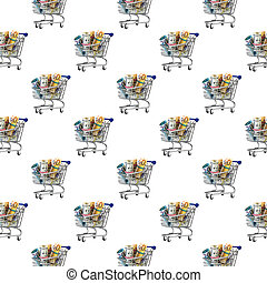 Seamless pattern. Shopping cart full of money isolated on white background.