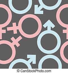Seamless pattern Signs of male and female.