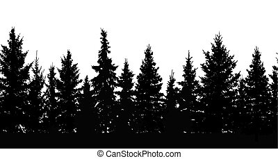 Seamless pattern. Silhouette of forest. Vector