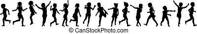 Seamless pattern silhouettes children jumping running around