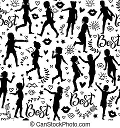 Seamless pattern silhouettes girls