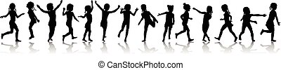 Seamless pattern silhouettes happy girls jumping and running