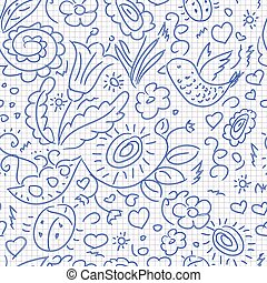 Seamless pattern sketch floral bird - Seamless pattern...