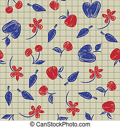 Seamless pattern sketch with fruits and berries