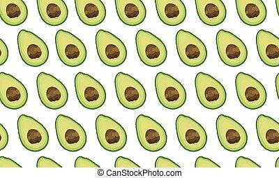 Seamless pattern sliced avocado on white background, Vector illustration