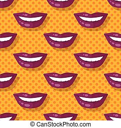 Seamless Pattern Smiling Lips Teeth on Polka Dot