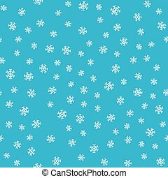 Seamless Pattern Snowflakes on Blue Background.