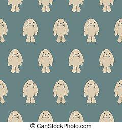 Seamless pattern soft bunny toy animal