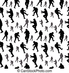 seamless, pattern., soldado, silhouette., militar, pessoas, vetorial, ilustração