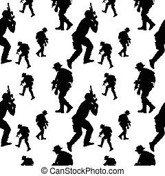 seamless, pattern., soldat, silhouette., militær, folk, vektor, illustration