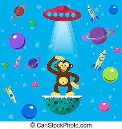 Seamless pattern space monkey