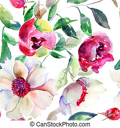 Seamless pattern Spring colorful flowers, Watercolor illustration
