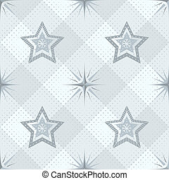 Seamless pattern, stars and checkered
