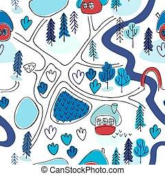 seamless, pattern., style., mappa, paesaggio, cartone animato, inverno, campagna