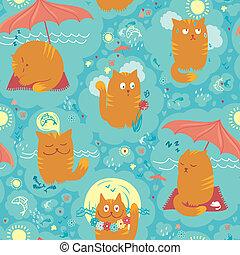 Seamless Pattern - Summer Cats