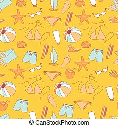 Seamless pattern summer collection of swimwear.