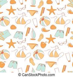 Seamless pattern summer collection of swimwear