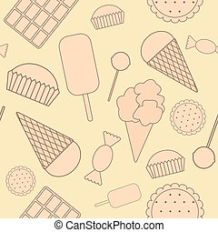 Seamless pattern: sweets. Chocolate, candy, ice cream, cake, cookies