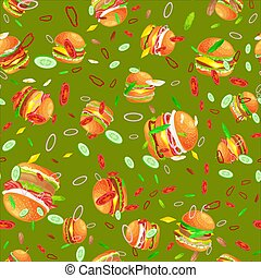 Seamless pattern tasty burger grilled beef and fresh vegetables dressed with sauce bun for snack, american hamburger fast food tomato cheese vecor illustration background