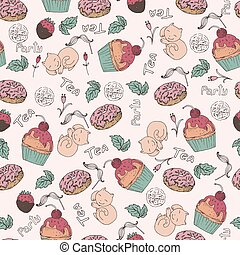 seamless pattern, tea party
